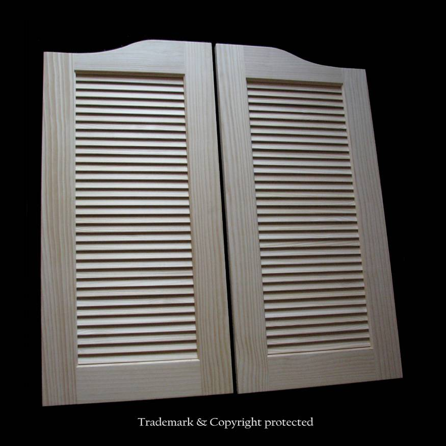 Large Pine Cafe Doors Louvered 4/0 Wood 48