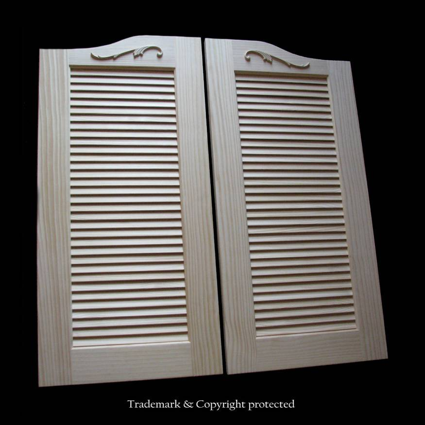 Large Pine Cafe Doors Louvered 3/8 Scroll 44
