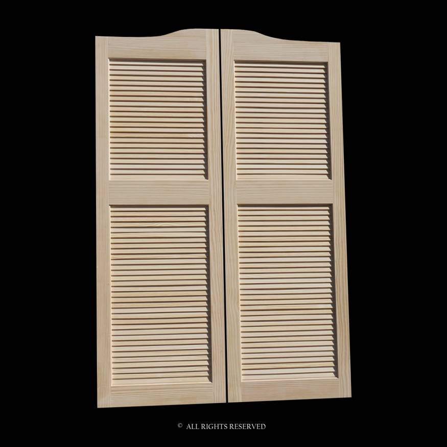 Full Length Cafe Doors Pine Louvered 36